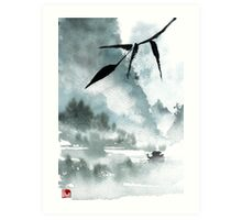 Peaceful River Chinese Landscape Art Print
