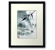 Peaceful River Chinese Landscape Framed Print