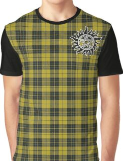 Supernatural Anti-possession symbol on PLAID in YELLOW Graphic T-Shirt
