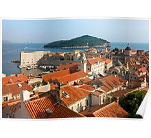 Dubrovnik Sunny Afternoon Panoramic View with The Harbor Poster