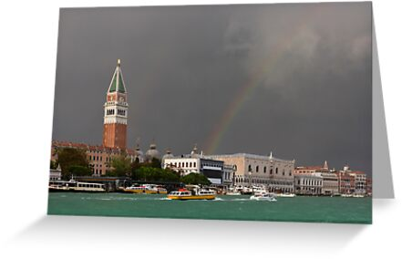 A colorful rainbow just after the storm in Venice by kirilart