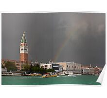 A colorful rainbow just after the storm in Venice Poster