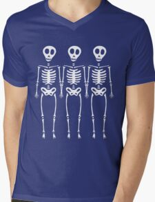 Skeleton Line Up Mens V-Neck T-Shirt
