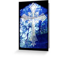 Blue Crucifix on Glass Window - Original Greeting Card