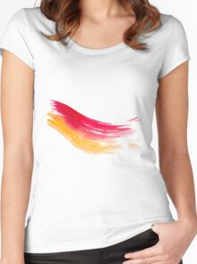 Colorful Watercolor Brush  Women's Fitted Scoop T-Shirt