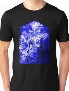 Blue Crucifix on Glass Window Unisex T-Shirt