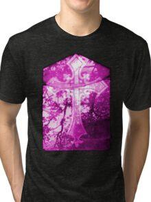 Pink Crucifix on Glass Window  Tri-blend T-Shirt