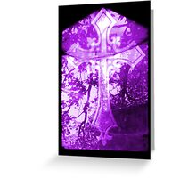 Purple Crucifix on Glass Window Greeting Card