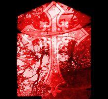 Red Crucifix on Glass Window by HazardousCoffee