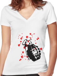 hearts and a hand grenade Women's Fitted V-Neck T-Shirt