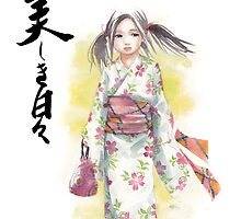 Girl in Yukata with Japanese Calligraphy Beautiful Days by Mycks