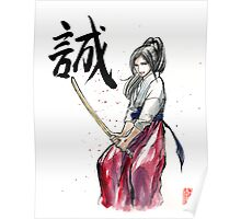 Girl practicing Swordplay, Japanese Calligraphy Truth Poster