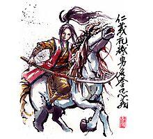 Female Samurai with Naginata on Horse Japanese Calligraphy Photographic Print