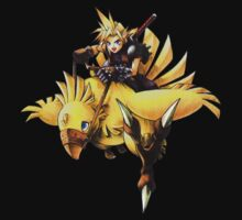 Cloud rides a chocobo by saviorum