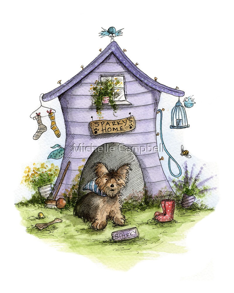 Sparkys House - Dog Cards & Prints  by Michelle Campbell