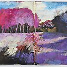 Tree landscape in magenta and violet by aceshirt