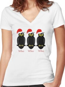 Christmas Owls Women's Fitted V-Neck T-Shirt