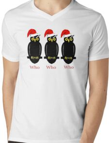 Christmas Owls Mens V-Neck T-Shirt