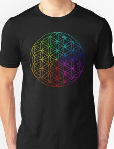 Rainbow flower of life on black T-Shirt