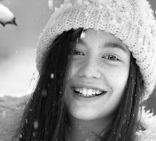 Kaija - portrait in falling snow by David Harrison