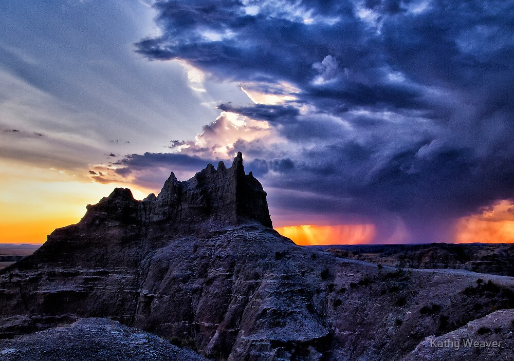 Approaching Storm - Badlands National Park, SD by Kathy Weaver