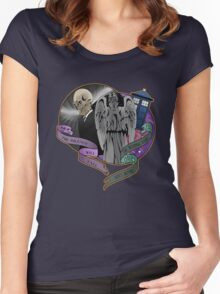 The Silent Angel in a Blue Box Women's Fitted Scoop T-Shirt
