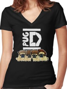 Pug Direction Women's Fitted V-Neck T-Shirt