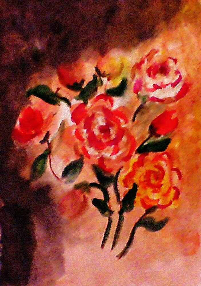 A rose tattoo on her shoulder, watercolor by Anna  Lewis, blind artist
