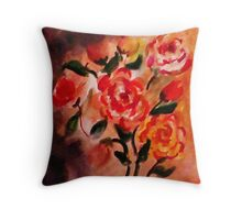 A rose tattoo on her shoulder, watercolor Throw Pillow