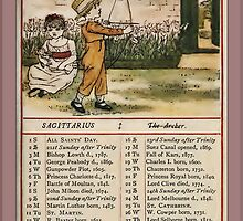 Greetings-Kate Greenaway November Almanac Page by Yesteryears