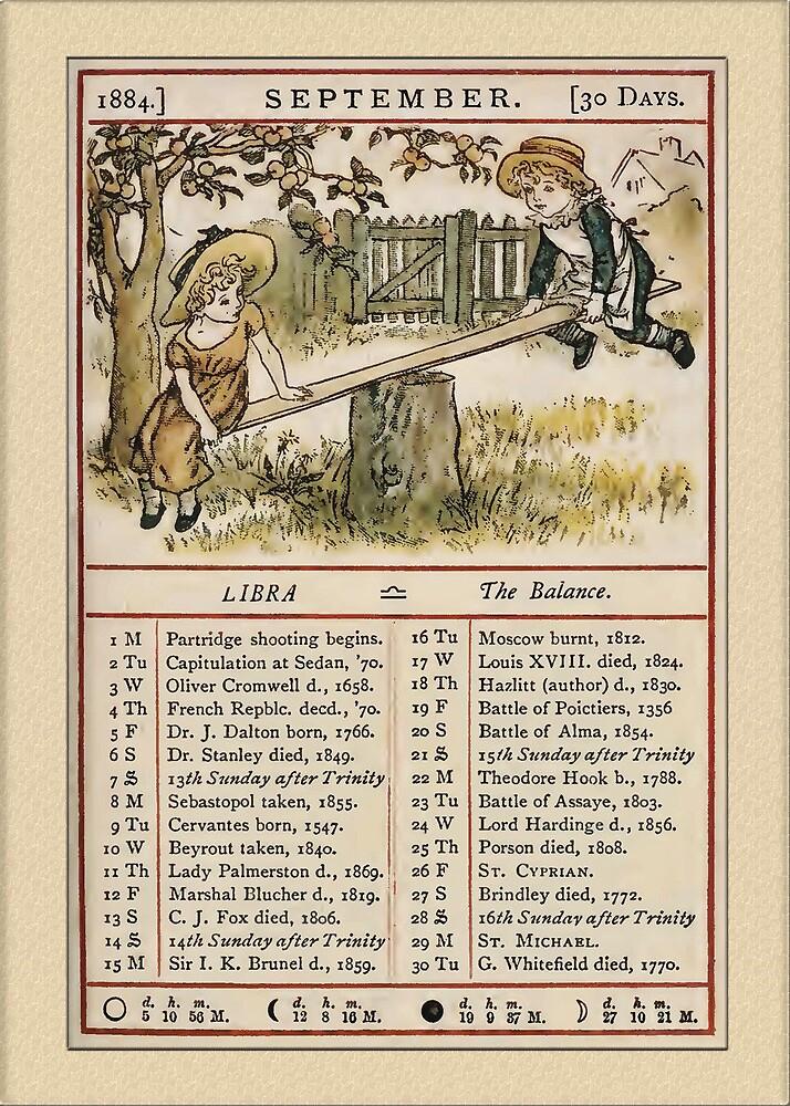 Greetings-Kate Greenaway September Almanac Page by Yesteryears