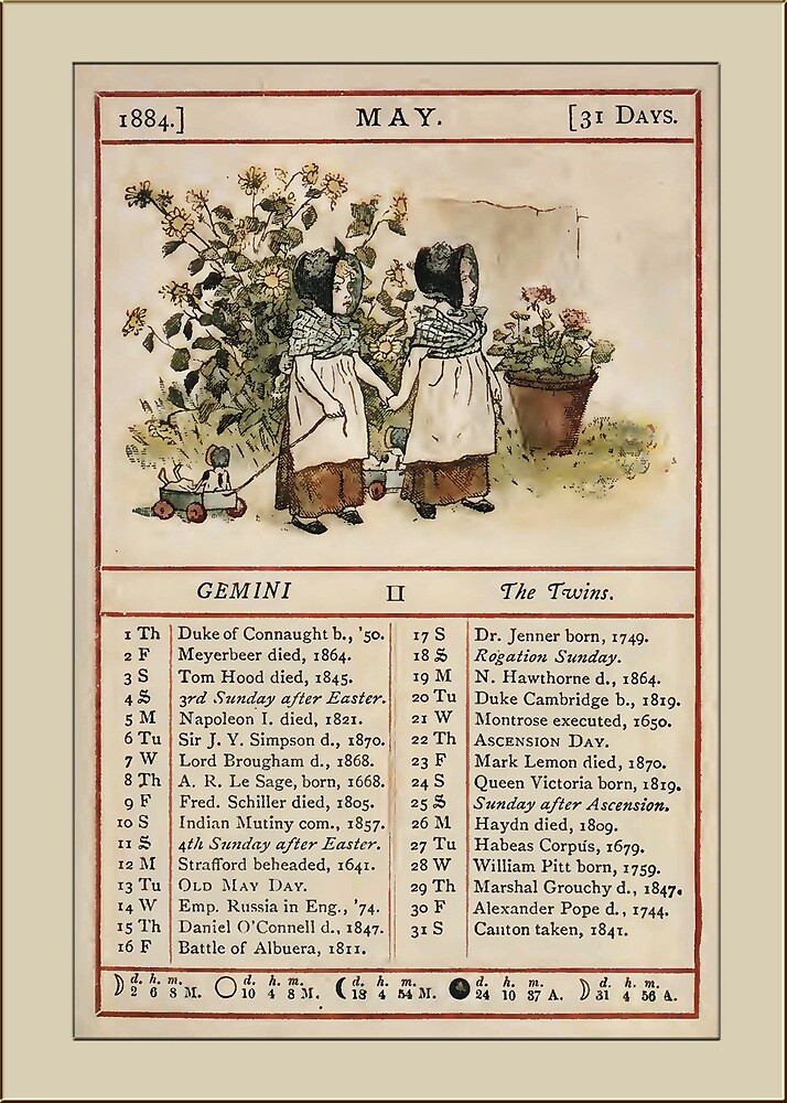 Greetings-Kate Greenaway May Almanac Page by Yesteryears