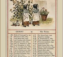 Greetings-Kate Greenaway May Almanac Page by Yesteryears