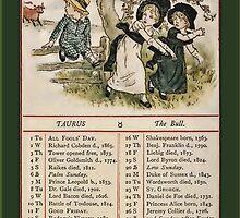 Greetings-Kate Greenaway April Almanac Page by Yesteryears