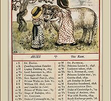 Greetings-Kate Greenaway  March Almanac Page by Yesteryears