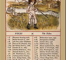 Greetings-Kate Greenaway  February Almanac Page by Yesteryears