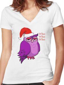 Santa Owl  Women's Fitted V-Neck T-Shirt