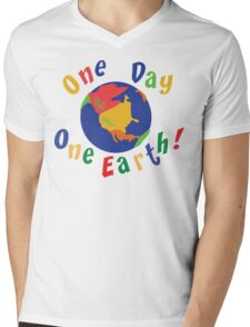 """Earth Day """"One Day One Earth"""" Mens V-Neck T-Shirt"""
