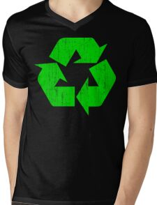 Earth Day Grunge Recycle Symbol Mens V-Neck T-Shirt