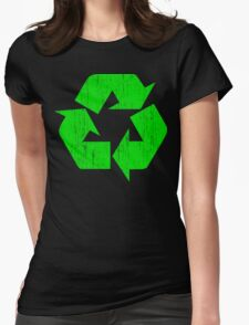 Earth Day Grunge Recycle Symbol Womens Fitted T-Shirt