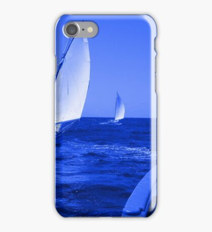Caribbean Sloops Sailing - Blue iPhone Case/Skin