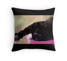 Felis Catus - Black Female Turkish Angora Cat Stretching Her Paw In Sleep Throw Pillow