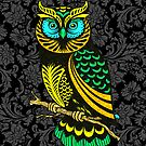 Colorful Abstract Owl Line Drawing Black Damasks Background by artonwear