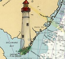 Cape May Lighthouse NJ Nautical Chart Cathy Peek by Cathy Peek