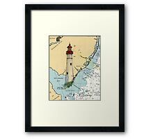 Cape May Lighthouse NJ Nautical Chart Cathy Peek Framed Print