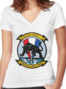 VP-91 Black Cats Women's Fitted V-Neck T-Shirt
