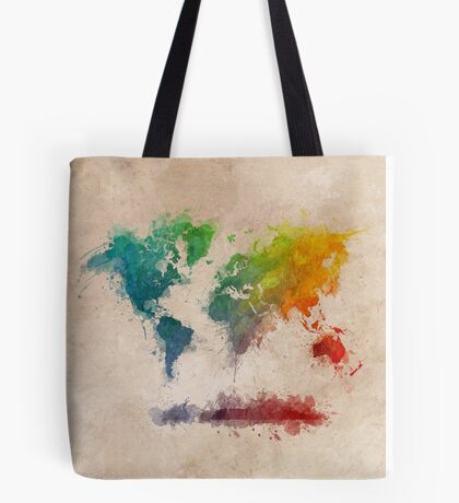 World Map splash colored Tote Bag