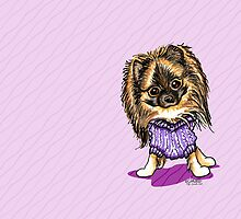 Plum Cute Pomeranian All Occasion Greeting by offleashart