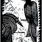 Black Birds Original Hand Pulled Linoleum Print by KFStudios