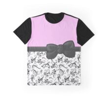 Ribbon, Bow, Damask, Swirls - Black White Pink Graphic T-Shirt